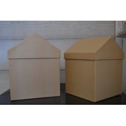 """Boîtes de rangement en forme de Maison, carton papier mâché ( lot de 2, """"Les moyennes"""")"""