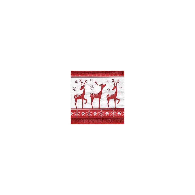 """Serviette en papier rouge et blanc Rennes """"Dans la Forêt"""" (vendue à l'unité)"""