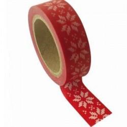 Ruban papier adhésif washi Tape Rouge point de croix blanc