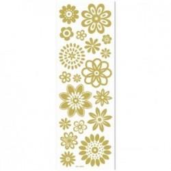 Planche Transferts pour bougie, verre et plastique - Catégorie OR pailleté : Fleurs