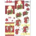 Planche Images Motifs 3D  Poinsettias et Couronne de Noël