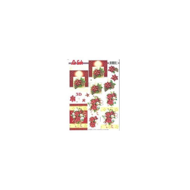 """Carte 3 D Planche Motifs 3D  """"Poinsettias et Couronne de Noël""""  2 cartes à réaliser (Technique du 3 D)"""