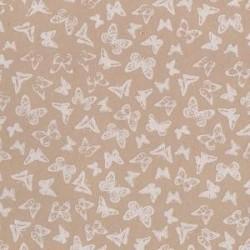 """Plaque de Mousse thermoformable Imprimé """"Papillons blancs """"  fond lin- Grand Format (60 cm x 40 cm)"""