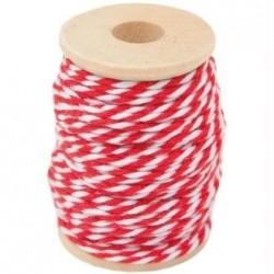 Ficelle décorative Twine multi services bicolore coton Blanc/Rouge  15 m (vendue avec bobine bois)