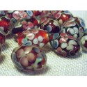 Perles Rétro anciennes Rouge/Rose fleuries en Verre  (vendue à l'unité)