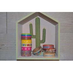 Etagères en forme de Maison en bois Naturel (lot de 2, supports à décorer )