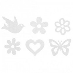 Feutrine Mix Embellissements Blanc (Sachet 12 ornements assortis)