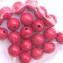 Perles en bois en sachet Rose/Rouge  14 mm (sachet 20 pièces)
