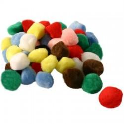 Pompons assortiment couleurs -  Embellissements 25 mm (Sachet 50 pièces )