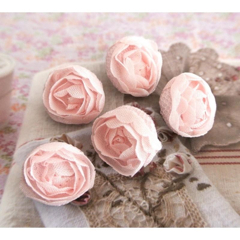 Bouton Fleur La Rose Tranquille Dentelle 19 Mm Fait Main Tissu