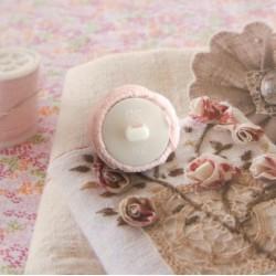 """Bouton Fleur """"La Rose Tranquille"""" dentelle 19 mm Fait Main Tissu dentelle fleur rose (Lot ZZ02) Sélection """"Dans mon Grenier"""""""
