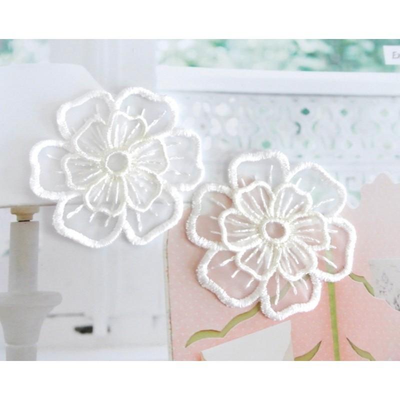 """Appliqué Fleur (lot 2 pièces) -2couches blanche mariage Rétro couture 5 cm (Lot ZZ04) Sélection """"Dans mon Grenier"""""""
