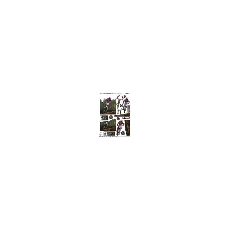 Carte 3 D Planche Prédécoupée Image 3 D (pour création 2 cartes) - Moto Cross - Vendu à l'unité