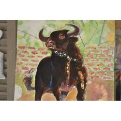 """Image 3 D  """"Chaton et pot de Fleur"""" 24 cm x 30 cm Tableau avec la Technique du 3 D"""