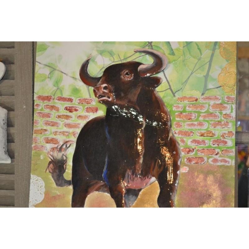 """Image 3 D  """"Taureau"""" 40 cm x 50 cm Tableau à réaliser avec la Technique du 3 D"""