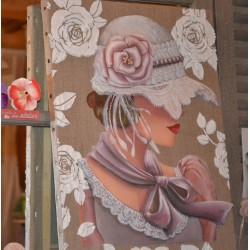 """Image 3 D  Image Rétro """"Femme au collier Rouge"""" 30 x 30 (vendue à l'unité) Tableau à réaliser technique du 3 D"""
