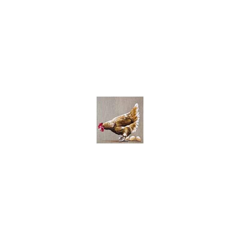 """Image 3 D  """" Image de la Ferme, Poule & oeufs """"  30 cm x 30 cm Tableau  à réaliser avec la Technique du 3 D"""