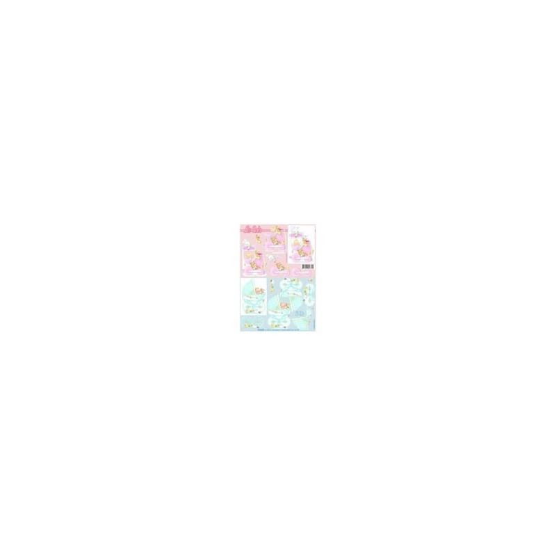 """Carte 3 D Planche Prédécoupée Image 3 D (pour création 2 cartes)"""" Landeaux rose et bleu"""""""