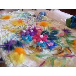 Foulard en Soie blanc à peindre ou à customiser  dimension 35 cm x 130 cm