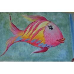 Image 3D Poissons 4 motifs différents  24 cm x 35 cm à travailler selon la  Technique du 3 D