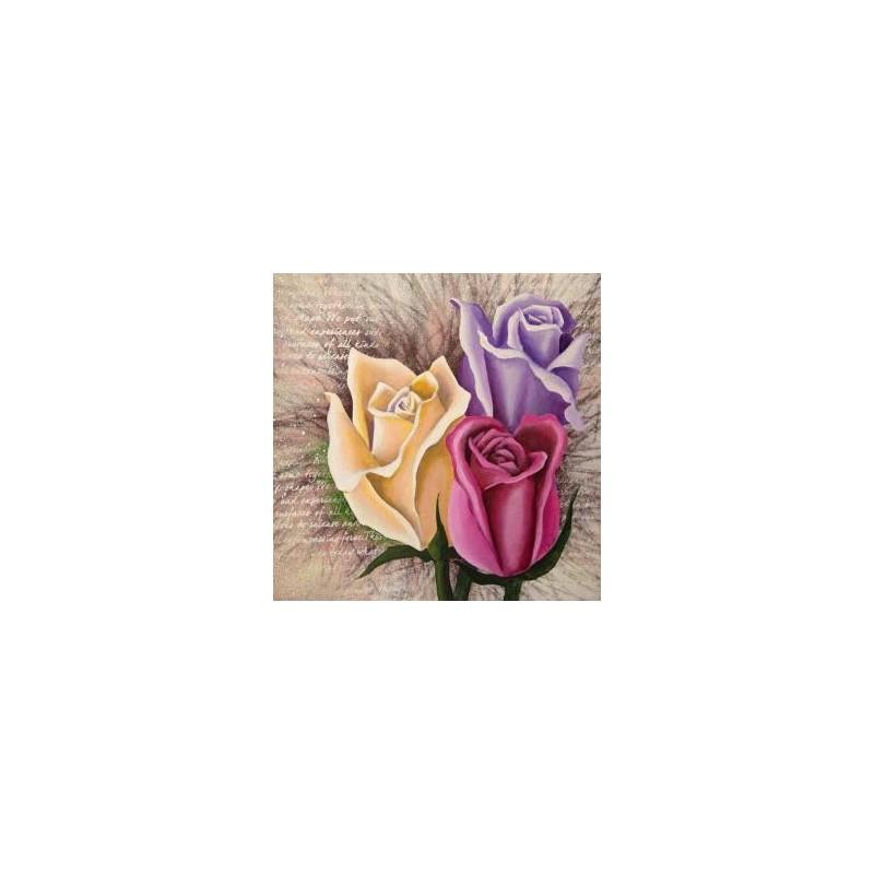 """Image 3D """"Roses"""" 3 roses  30 cm x 30 cm  Tableau pour technique du 3 D"""