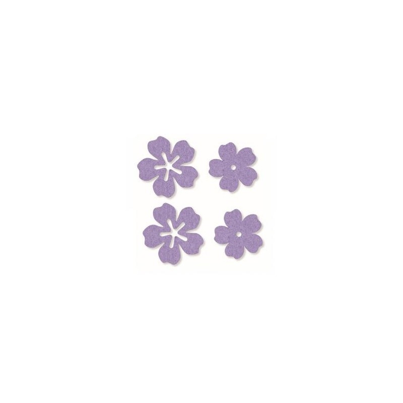 Feutrine Mix Fleurs Lilas Embellissements  (Sachet 24 ornements )