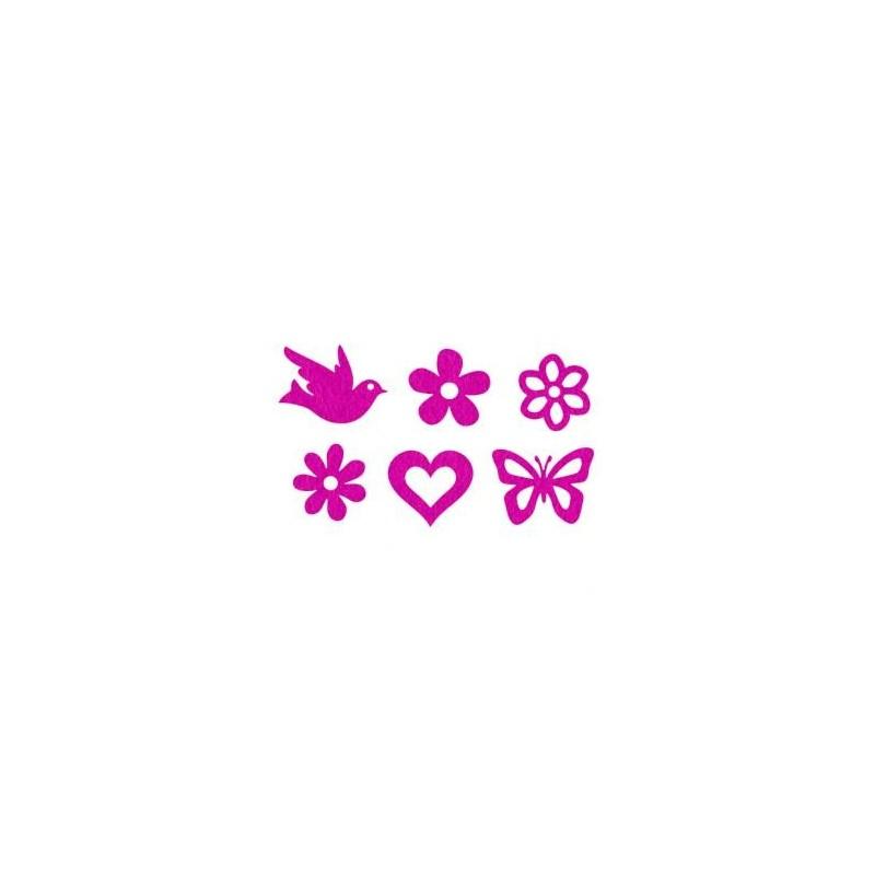 Feutrine Mix de Printemps Embellissements Fushia (Sachet 12 ornements assortis)
