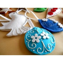 Feutrine Mix de Printemps Embellissements Turquoise (Sachet 12 ornements assortis)