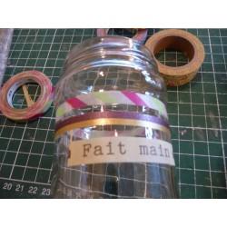 Ruban tissu adhésif Masking Tape Dentelle coton Noir 17mm X 2,5m