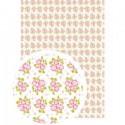 """Tissu Adhésif planche A4 - Imprimé """"Fleurs des Champs Blanc/Roses"""""""