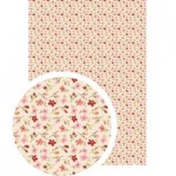 """Tissu Adhésif planche A4 - Imprimé """"petites fleurs"""" Rose Bordeaux"""