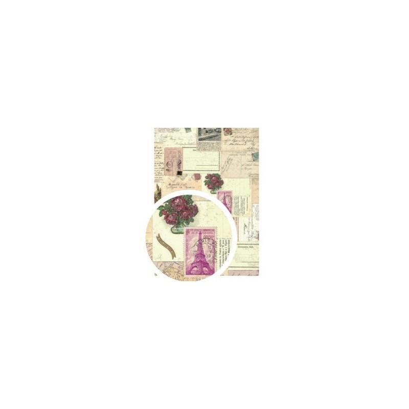 "Tissu Adhésif planche A4 - Imprimé ""Carte Postale"""