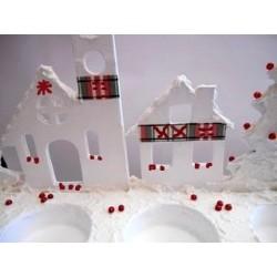 Support à décorer en Médium Bougeoir Village ALPIN (pour 3 petites bougies chauffe-plat ou Led)
