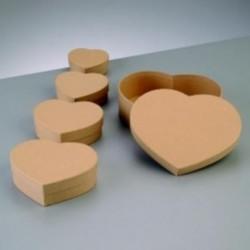Support à décorer en Carton Boîtes Gigogne en forme de Coeur ( lot de 5)