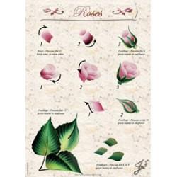 Fiche Entraînement Plastifiée Réutilisable à l'infini  motifs Fleur Rose,  Imprimé détails Recto et Verso
