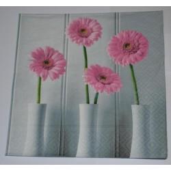 Serviette Vase et Fleurs gerbéra (Rose et gris)