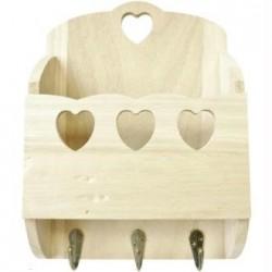Support bois Vide poche & accroches clés ou  Pot ustensiles cuisine & accroche torchons, avec 3 petits coeurs   (23 x 7 x 17 cm)