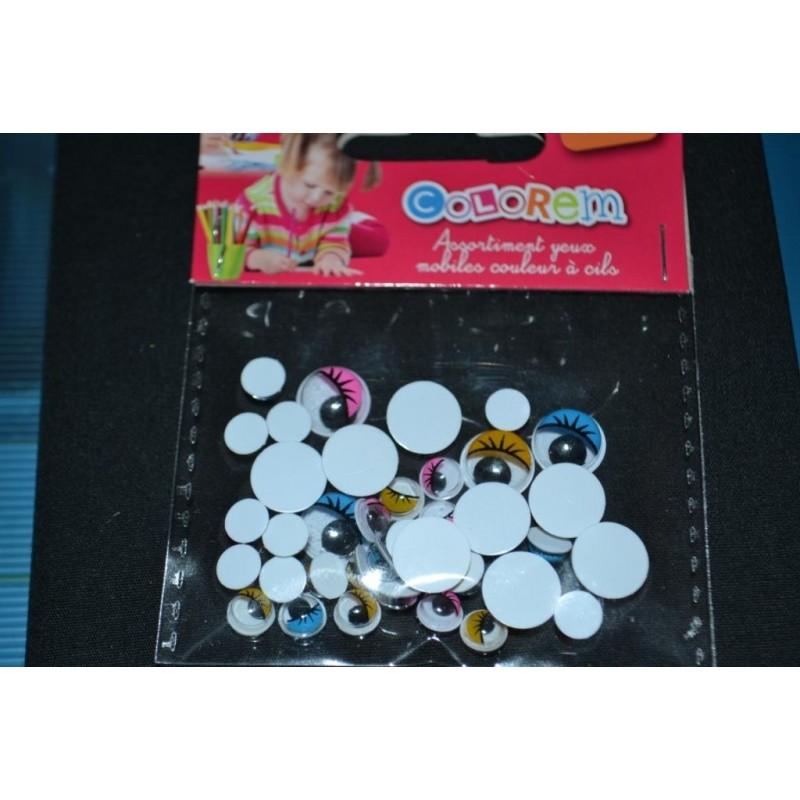 Yeux mobiles à cils, ronds, de couleur, à coller, de 6 à 10 mm, sachet de 50 pièces
