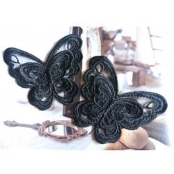 """Appliqué Papillon 11 x 6 cm (vendu à L'unité) dentelle  Coton Retro 2 Couches Noir (Lot ZZ0.1.05N) Sélection """"Dans mon Grenier"""""""