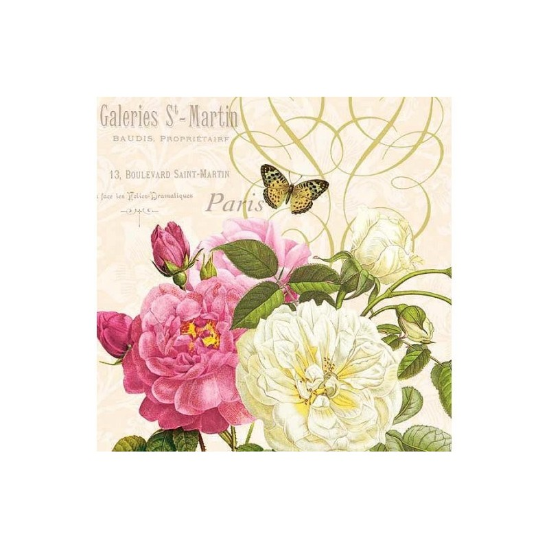 """Serviette en papier motifs : """"PARIS Rose Garden""""  (vendue à l'unité)"""