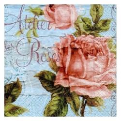 """Serviette en papier motifs : """"Atelier Roses""""  (vendue à l'unité)"""