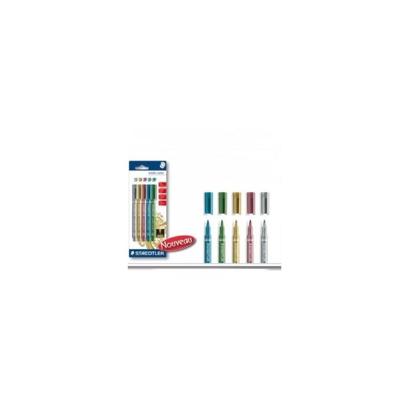 Feutres Marqueur Couleurs Métalliques, Lot de 5 de couleurs  : or + argent + rouge + bleu + vert