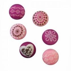 """Aimants Magnets, recouverts de tissu """" Romance"""" (sachet lot de 6 pièces)"""