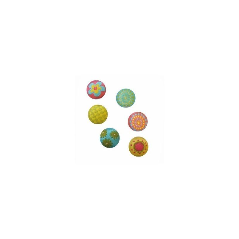"""Aimants Magnets, recouverts de tissu """" Hippie"""" (sachets lot de 6 pièces)"""