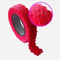 Ruban tissu adhésif Masking Tape Dentelle coton Rouge 17mm X 2,5m