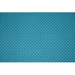 Tissu Adhésif planche A4 Imprimé Pois bleu turquoise