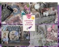 Atelier COUTURE FACILE : CONFECTIONNER DES MINI COUSSINS de LAVANDE effet vintage Carte postale ou étiquettes Anciennes ,  TUTORIEL