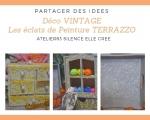 Atelier CUSTOMISATION/DECO  : Décorer avec les pétales de Peinture TERRAZZO pour un effet Rétro PETITS RANGEMENTS/PLATEAU ,  VIDEO