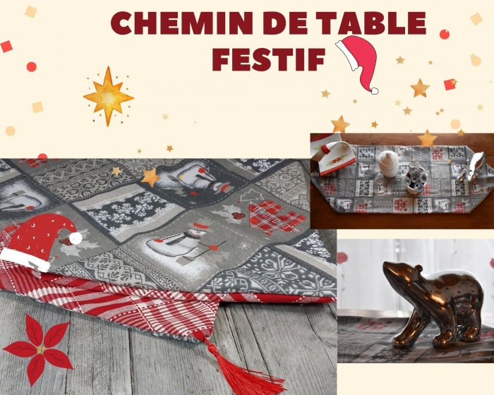 ATELIER DE NOEL/ COUTURE / FESTIF : CONFECTIONNER UN CHEMIN DE TABLE DOUBLE FACE , TUTORIEL