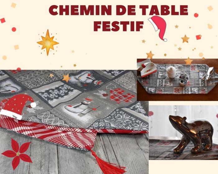 ATELIER DE NOEL/ COUTURE / FESTIF : CONFECTIONNER UN CHEMIN DE TABLE DOUBLE FACE , TUTORIEL